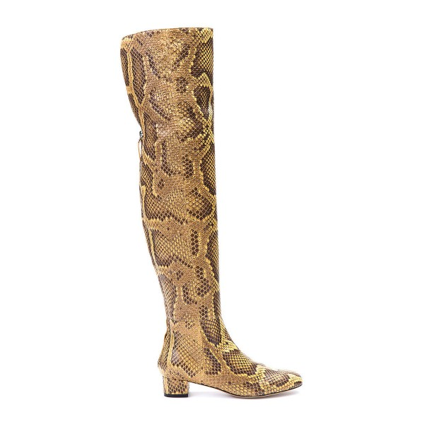 Python Print Long Boots Pointy Toe Chunky Heels Knee-over Boots image 5