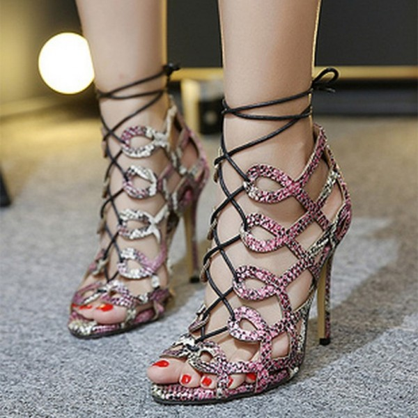 Python Strappy Sandals Open Toe 3 Inch Stiletto Heels for Women image 1