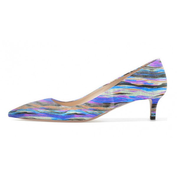 Women's Blue Stripes Low-cut Kitten Heels Pumps image 3