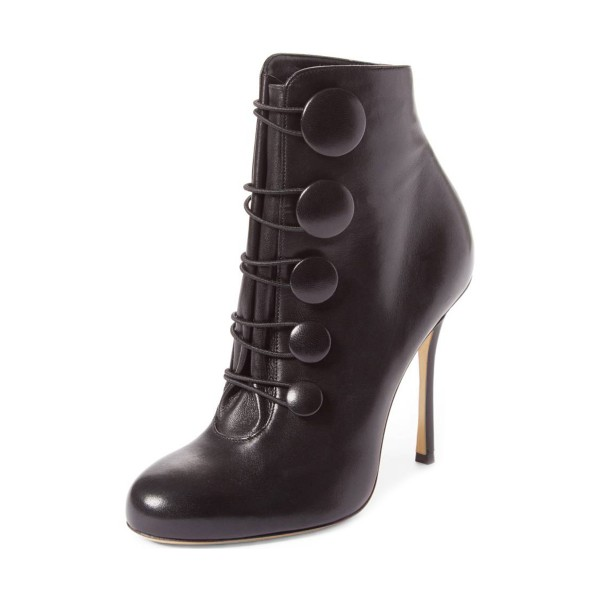 Black Stiletto Boots Round Toe Buttoned Heeled Ankle Booties for Women image 1