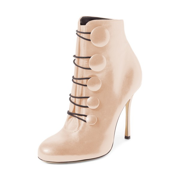 Beige Stiletto Boots Round Toe Heeled Buttoned Ankle Booties image 1