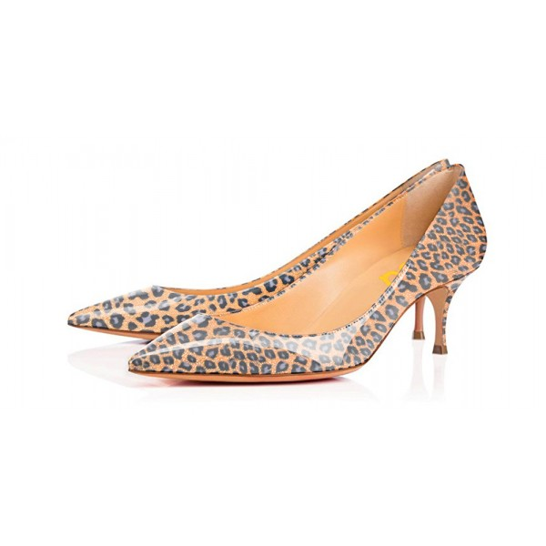 Women's Orange Crystal Kitten-heel Leopard Print Heels Pumps image 1