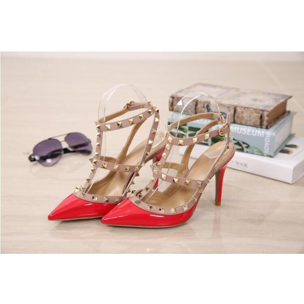 Red Studs Shoes T Strap Patent Leather Stiletto Heel Pumps image 2