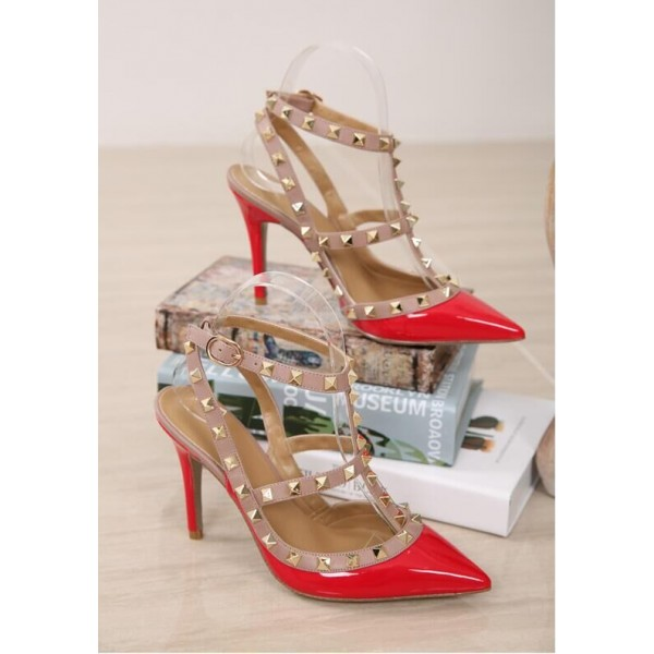Red Studs Shoes T Strap Patent Leather Stiletto Heel Pumps image 3