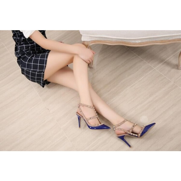 Royal Blue Studs Shoes T Strap Patent Leather Stiletto Heel Pumps image 2
