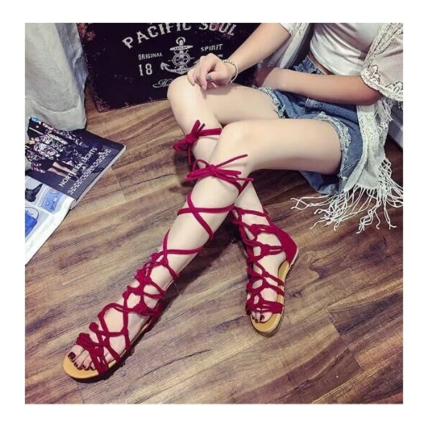 Red Gladiator Sandals Strappy Flats image 2