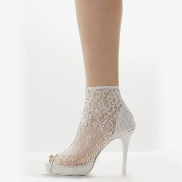 Women's White Lace Stiletto Heel Ankle Boots image 1