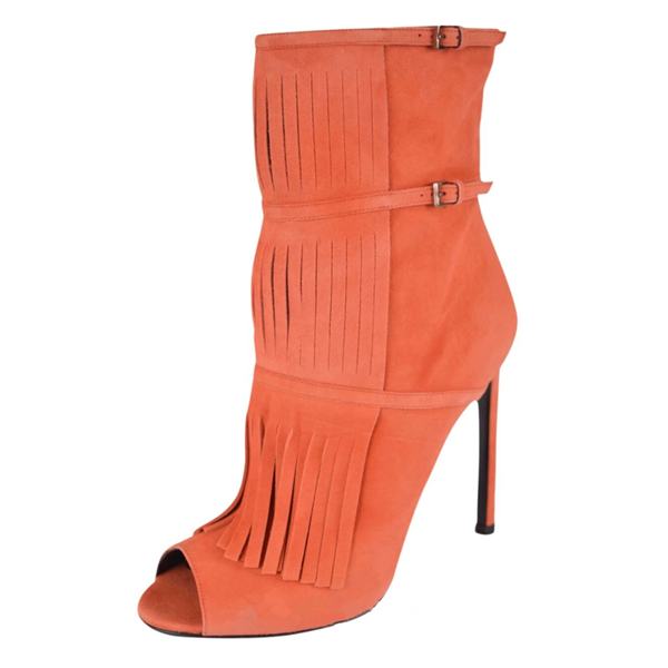 Women's Suede Orange Peep Toe Buckle Stiletto Heel Fashion Boots image 1