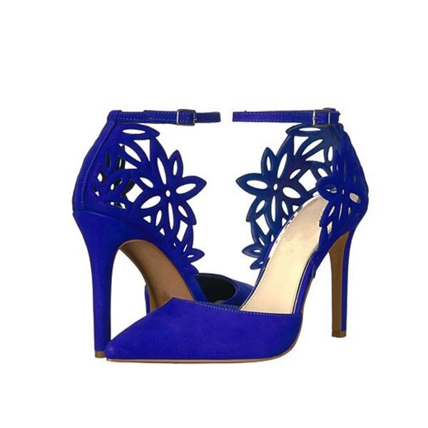 Blue Floral Heels Suede Ankle Strap Shoes Stiletto Heel Pumps image 1