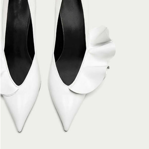 White Stiletto Heels Dress Shoes Pointy Toe Leather Pumps image 2