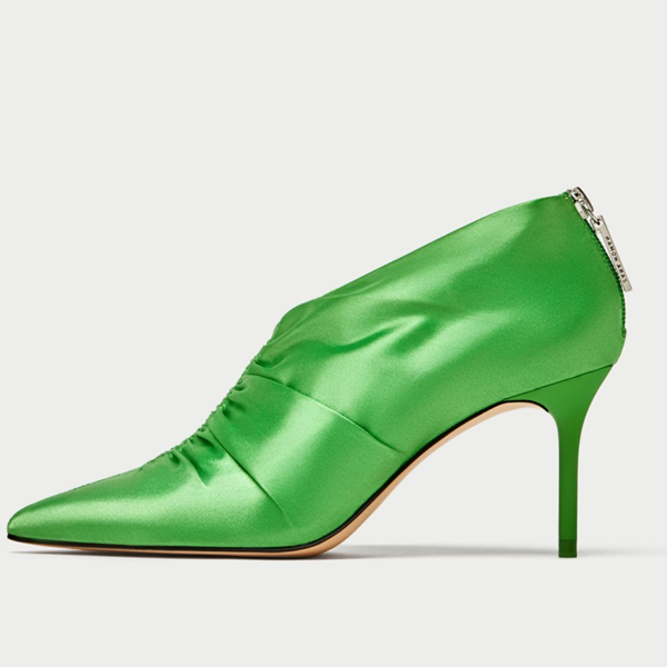 Women's Beryl Green Pointed Toe Satin Stiletto Heel Pumps image 1
