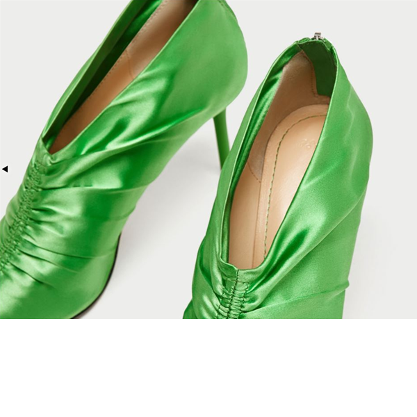 Women's Beryl Green Pointed Toe Satin Stiletto Heel Pumps image 2