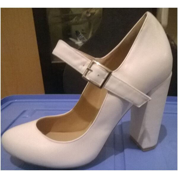 White Ankle Strap Heels Mary Jane Chunky Heel Pumps image 1