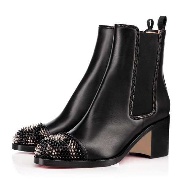 Black Chelsea Boots Round Toe Low Chunky Heel Rivets Short Boots image 1