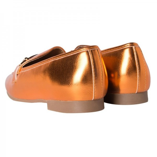Orange Metallic Vegan Leather Loafers for Women image 3
