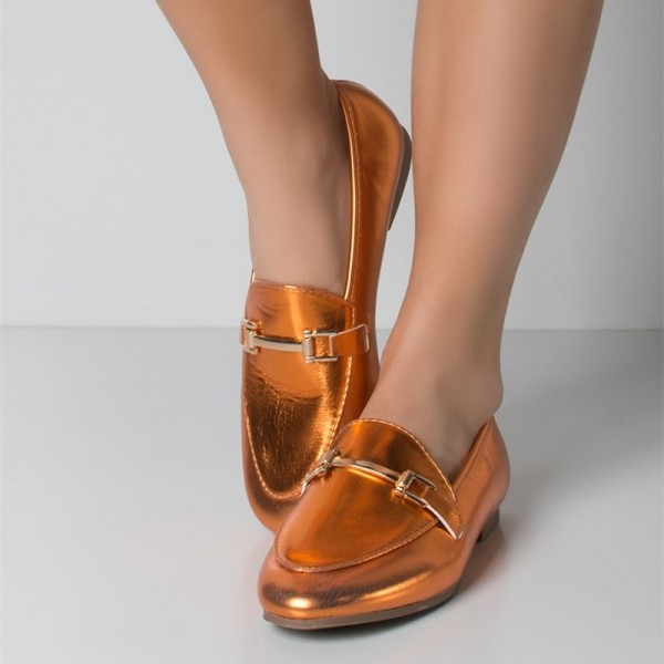 Orange Metallic Vegan Leather Loafers for Women image 1