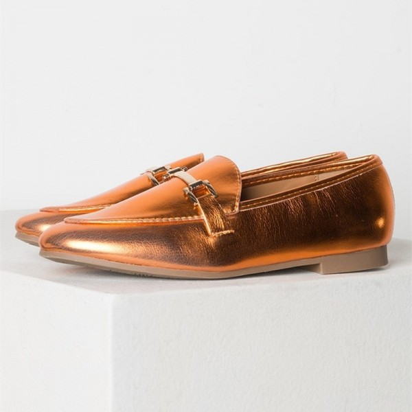 Orange Metallic Vegan Leather Loafers for Women image 2
