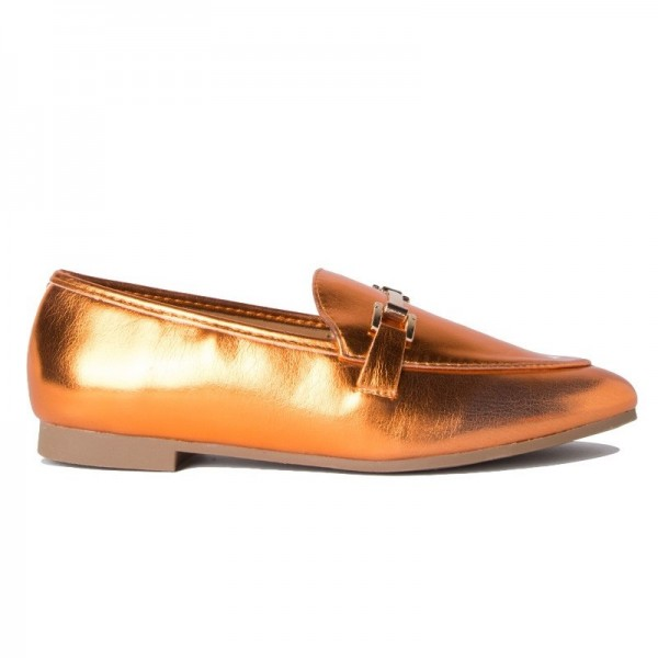 Orange Metallic Vegan Leather Loafers for Women image 4