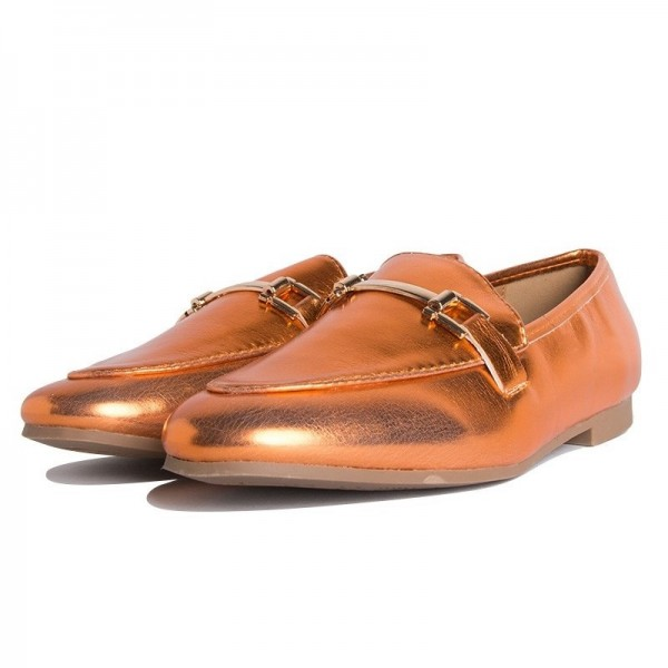 Orange Metallic Vegan Leather Loafers for Women image 5
