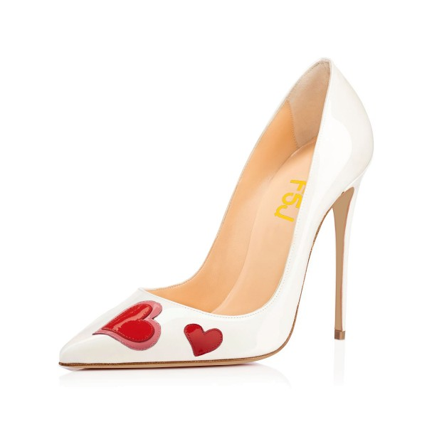 Women's White Stiletto Heels Pointy Toe Heart Shaped Patent Leather Pumps image 1