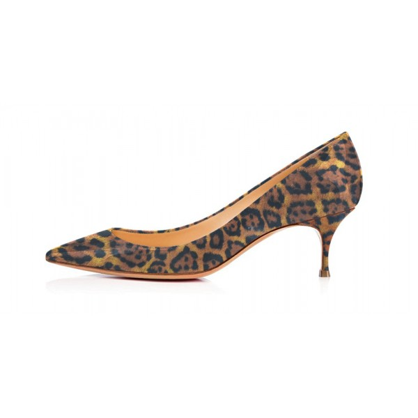 Dark Brown Leopard-Print Kitten-heel Pumps image 4