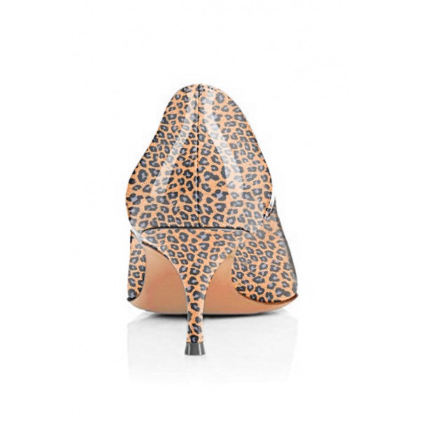 Women's Orange Crystal Kitten-heel Leopard Print Heels Pumps image 4