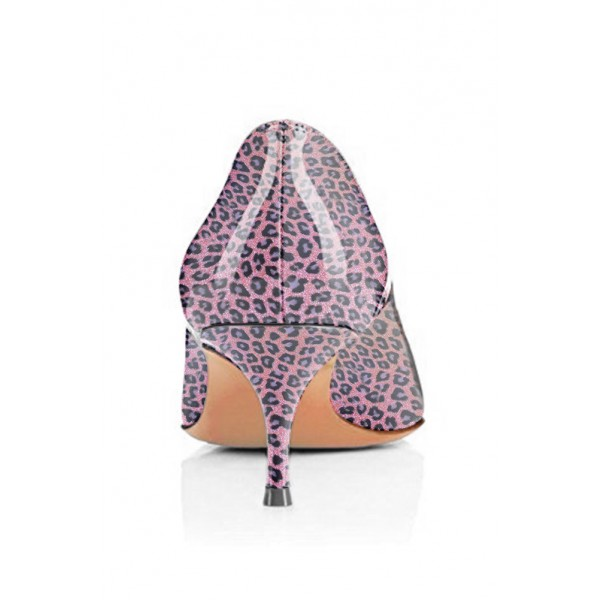 Viola Purple Leopard Print Heels Kitten Heels Pointy Toe Pumps image 2
