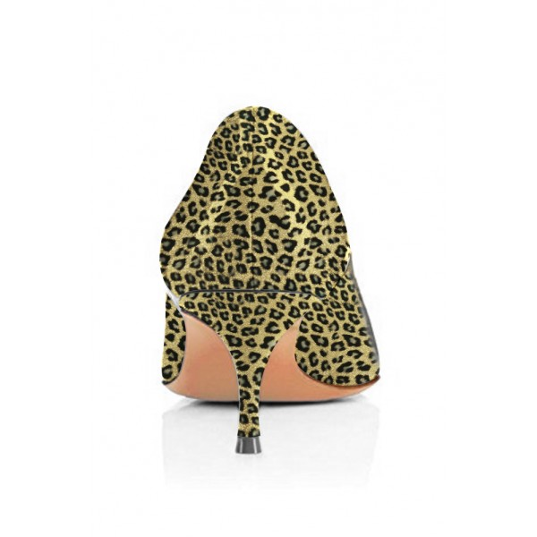 Bright Green Leopard-Print Kitten-heel Pumps image 4