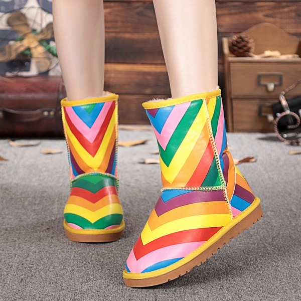 Rainbow Comfortable Shoes Winter Snow Boots US Size 3-15 image 3