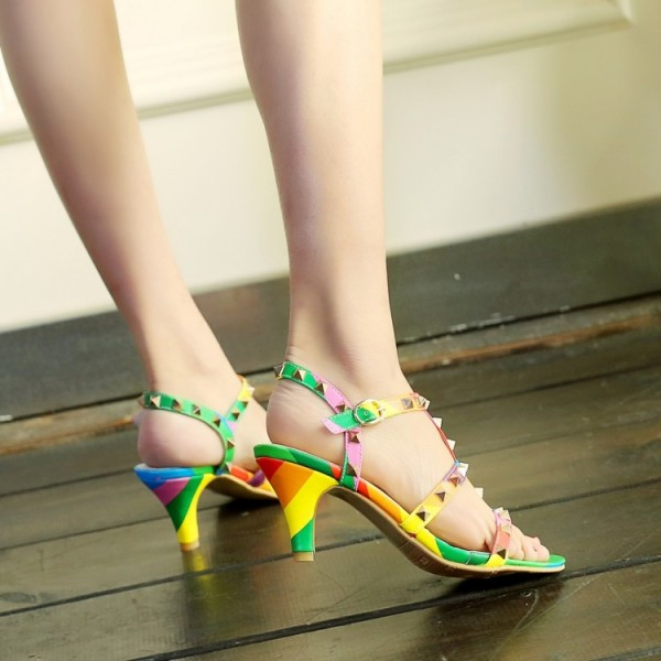 Women's Colorful with Metal Chunky Heels Open Toe  T-Strap Sandals image 4