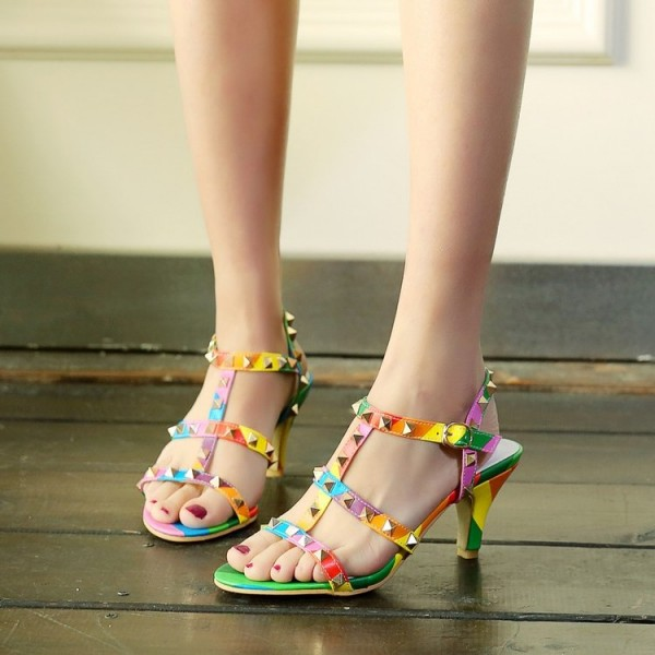 Women's Colorful with Metal Chunky Heels Open Toe  T-Strap Sandals image 2