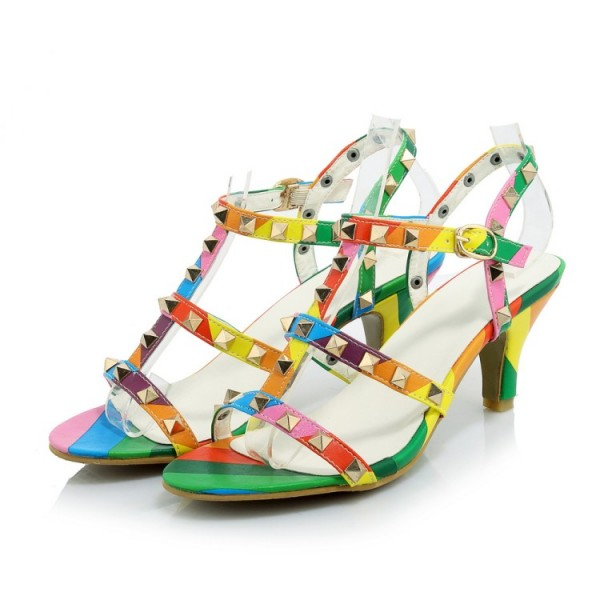 Women's Colorful with Metal Chunky Heels Open Toe  T-Strap Sandals image 3