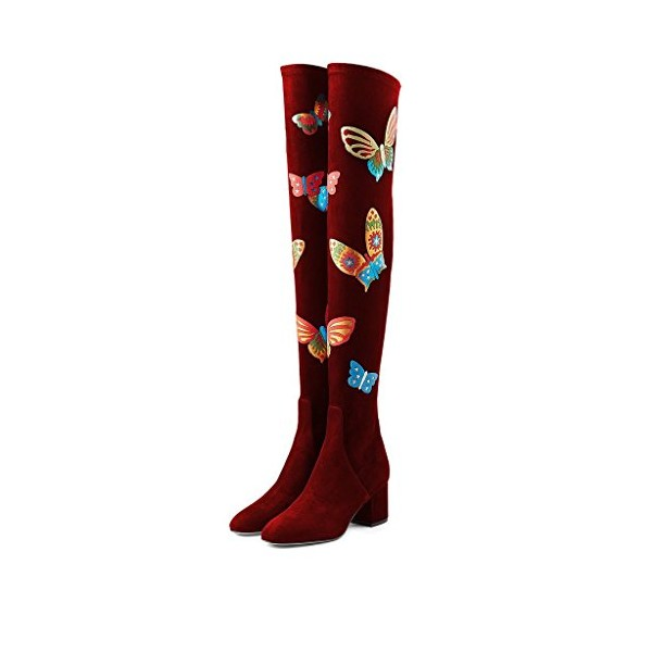Burgundy Suede Butterflies Print Over-the-Knee Long Boots image 1