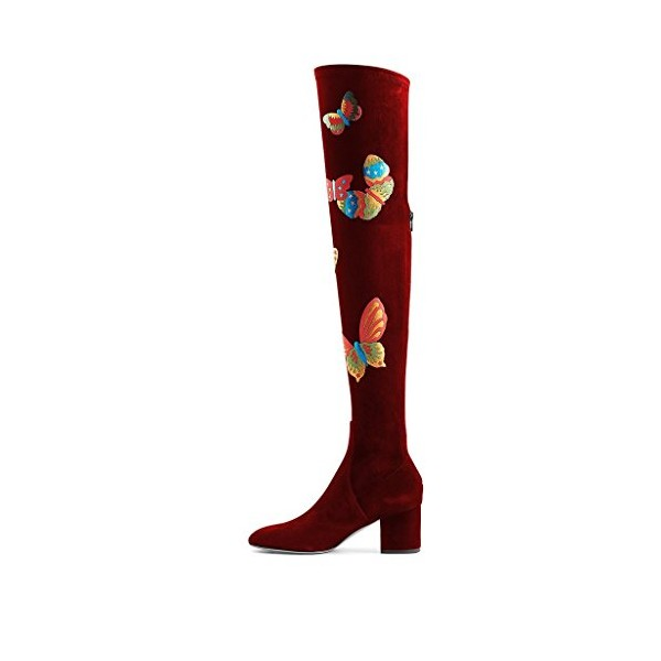 Burgundy Long Boots Butterflies Print Over-the-Knee Suede Chunky Heels image 5
