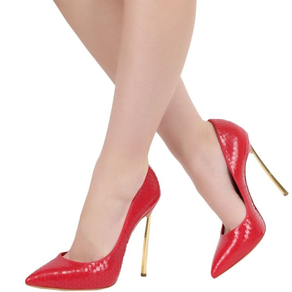 Red 5 Inches Stiletto Heels Pointy Toe Python Office Heels Pumps image 1