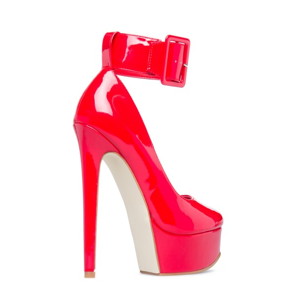 Red Almond Toe Platform Heels Stiletto Heels Ankle Strap Pumps image 3