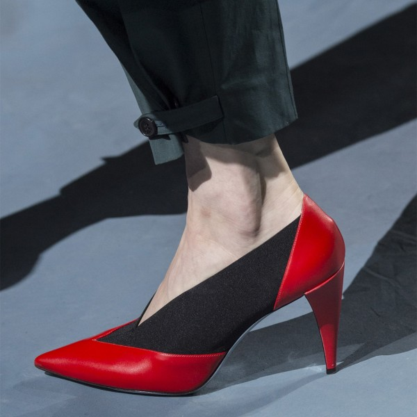 8ddeed00ac5 Red and Black 3 inch Heels Pointy Toe Fashion Cone Heels Pumps image 1 ...