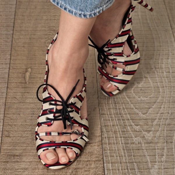 Red and Beige Stripes Lace up Heels Peep Toe Stiletto Heel Pumps image 1