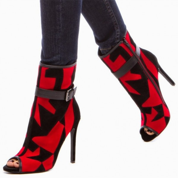 Red And Black Fashion Boots Peep Toe Suede Geometric Ankle Boots image 1