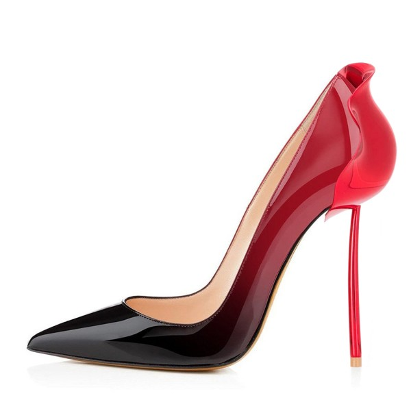 Red and Black Gradient Office Heels Patent Leather Pumps image 3