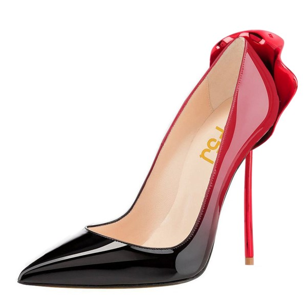Red and Black Gradient Office Heels Patent Leather Pumps image 1