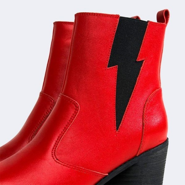 Red and Black Lightning Block Heel Ankle Booties image 3