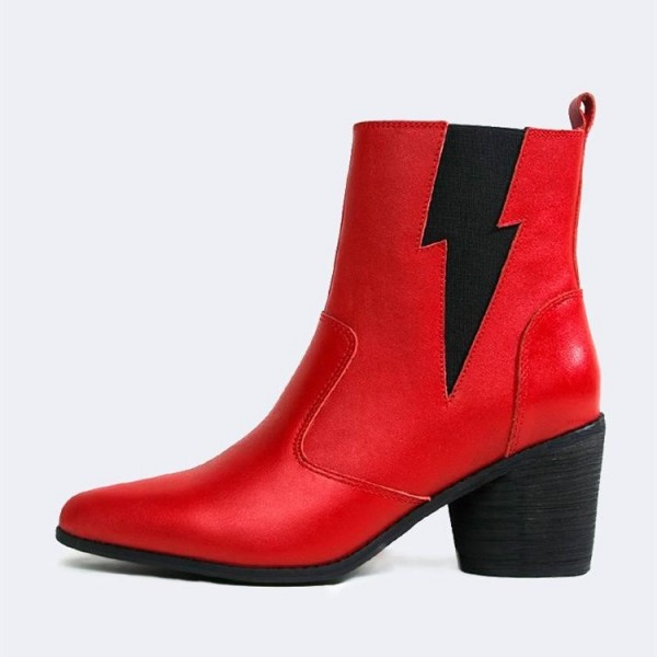 Red and Black Lightning Block Heel Ankle Booties image 2