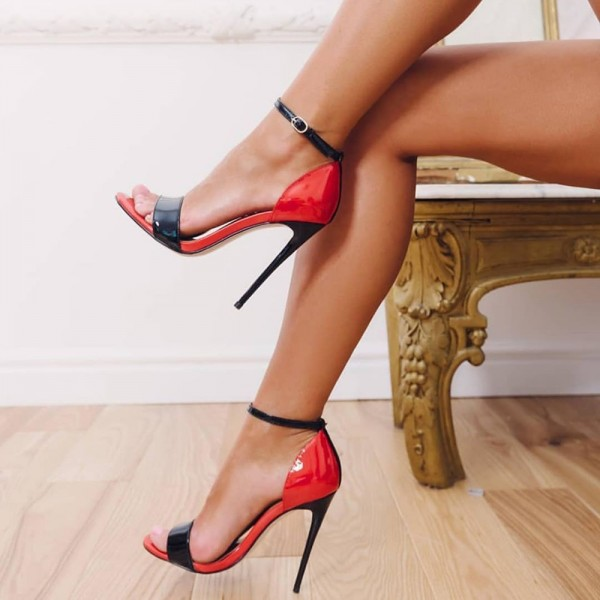 Red and Black Patent Leather Ankle Strap Heels Sandals image 1