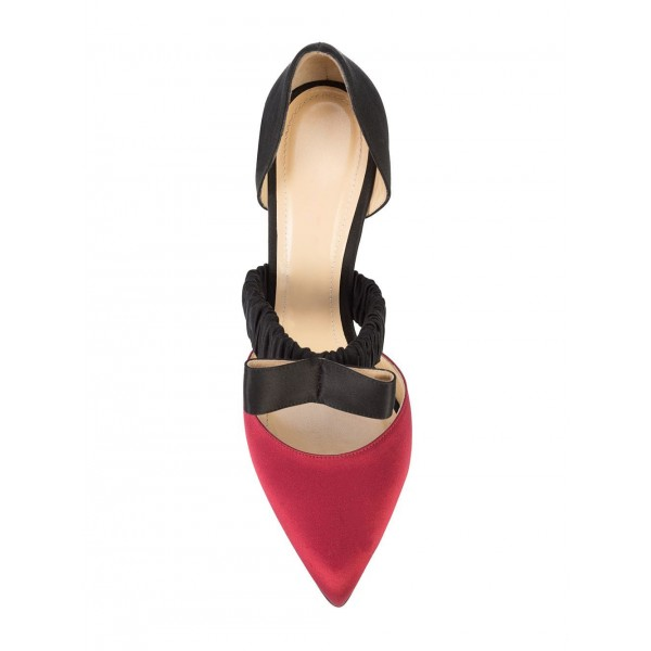 Red and Black Satin Pointed Toe Stiletto Heels Pumps  image 5