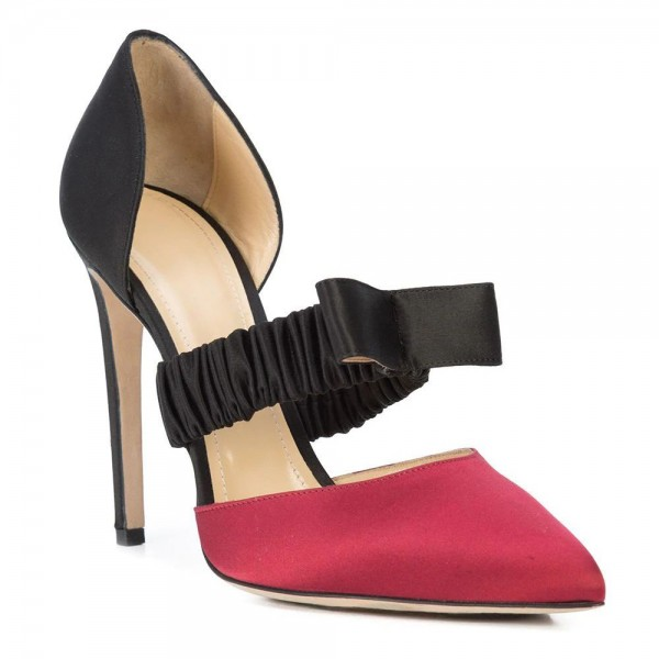 Red and Black Satin Pointed Toe Stiletto Heels Pumps  image 4