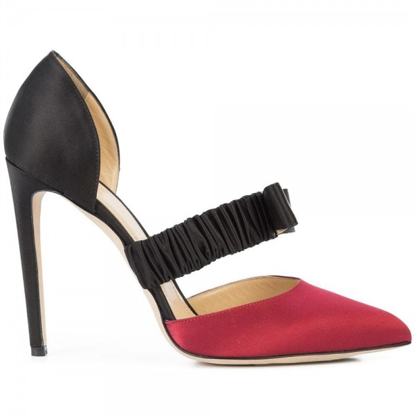 Red and Black Satin Pointed Toe Stiletto Heels Pumps  image 3