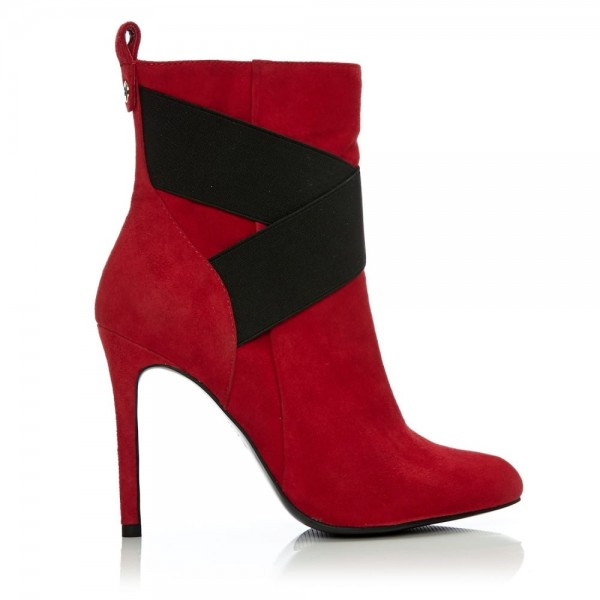 Red and Black Cross Fashion Boots Stiletto Heels Suede Ankle Boots image 2