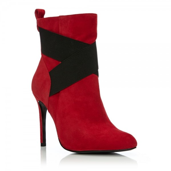 Red and Black Cross Fashion Boots Stiletto Heels Suede Ankle Boots image 5