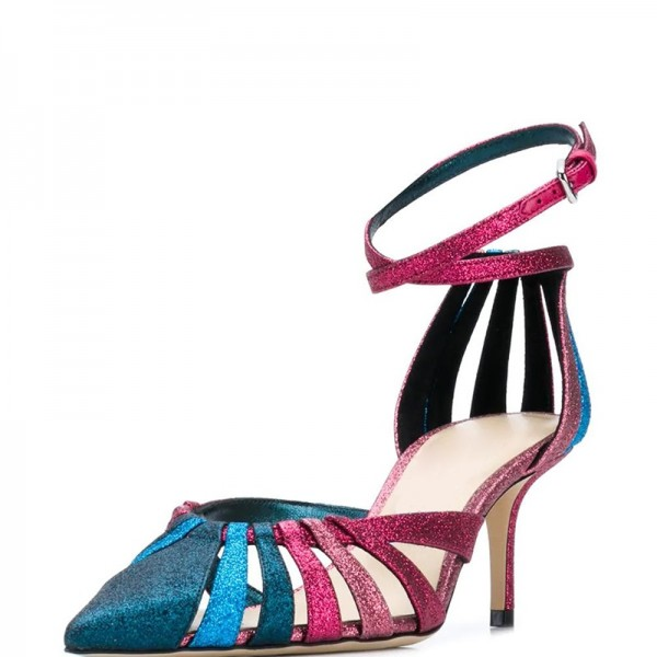 Magenta and Blue Ankle Strap Heels Hollow Out Pumps image 1